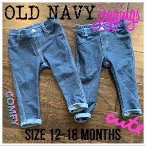 LOT of TWO Old Navy girls denim jeggings 12-18M